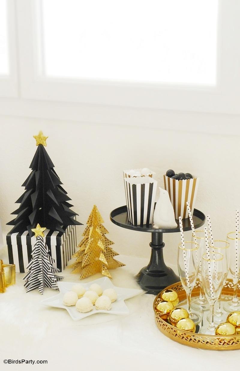 Table de Noël DIY en Noir et Doré
