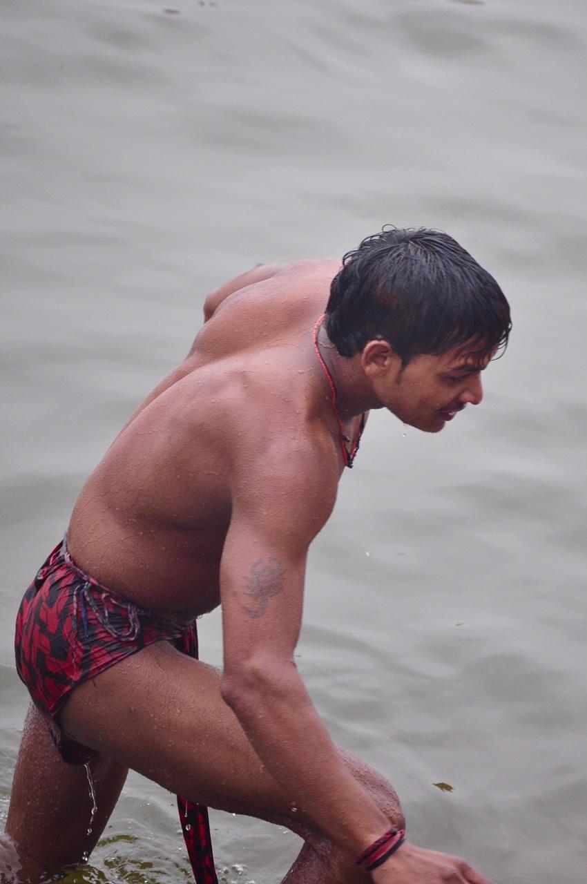 Indian man in langot. hot muscular desi indian man male langot underwear wet bulge bathing dickslip bulging picture varanasi banaras.