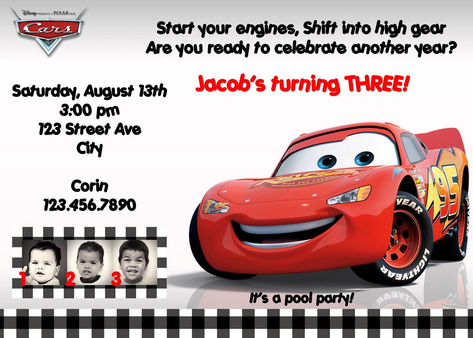cars+invite 4 disney cars birthday invitations templates on 1st birthday cake ideas cars