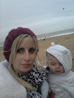 beach in winter, mother and baby
