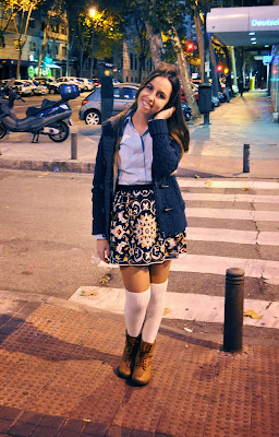hey vicky hey, victoria suarez, pull and bear, falda, blogger, tight-high socks, otoño, fall