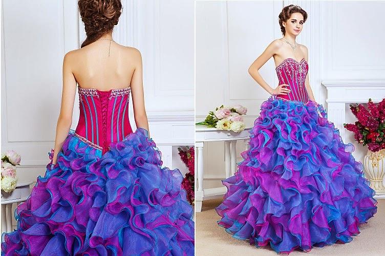modelo de vestido longo colorido para madrinha de 15 anos - fotos e dicas