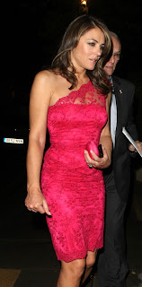 Elizabeth Hurley in a pink dress