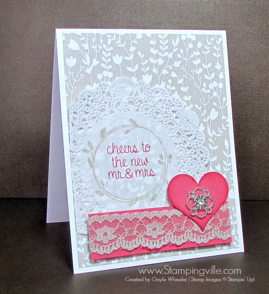"""Your Perfect Day"" wedding card with lace and a pretty jewel. #wedding #cardmaking #papercrafts #StampinUp"