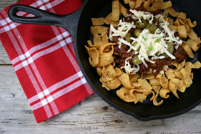 Frito Pie with Chili in Cast Iron Skillet