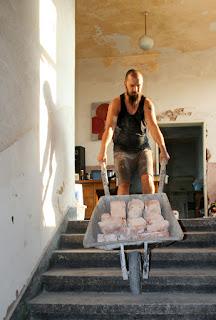 Shifting bricks downstairs