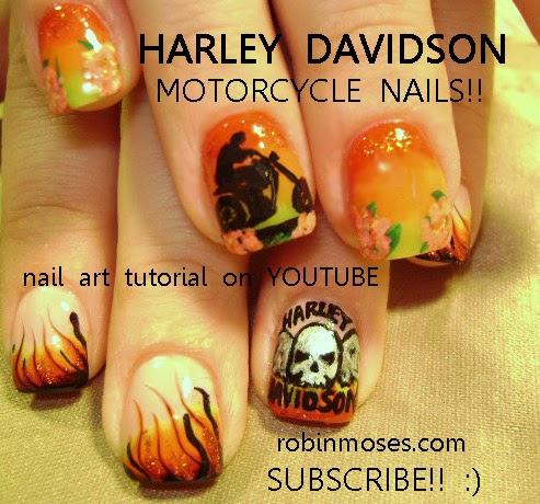 Nails Done With Eyeshadow Mac Eyeshadow Nail Art Harley Davidson