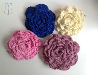 pasadores crochet flores haarspangen blume häkeln