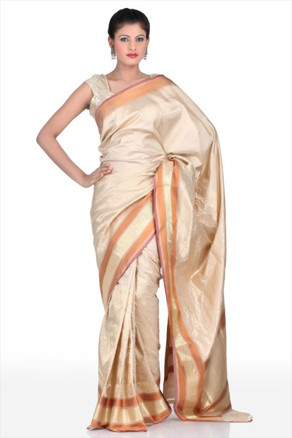 Beige Kattan Silk Banarasi Saree