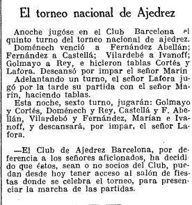 Recorte de La Vanguardia sobre el Torneo Nacional de Ajedrez Barcelona 1926, 29/9/1926