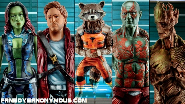 Hasbro action figures for Zoe Saldana, Chris Pratt, Bradley Cooper, Dave Bautista and Vin Diesel in Guardians of the Galaxy