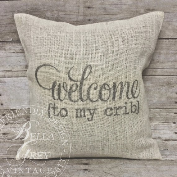 Burlap Crib Pillow