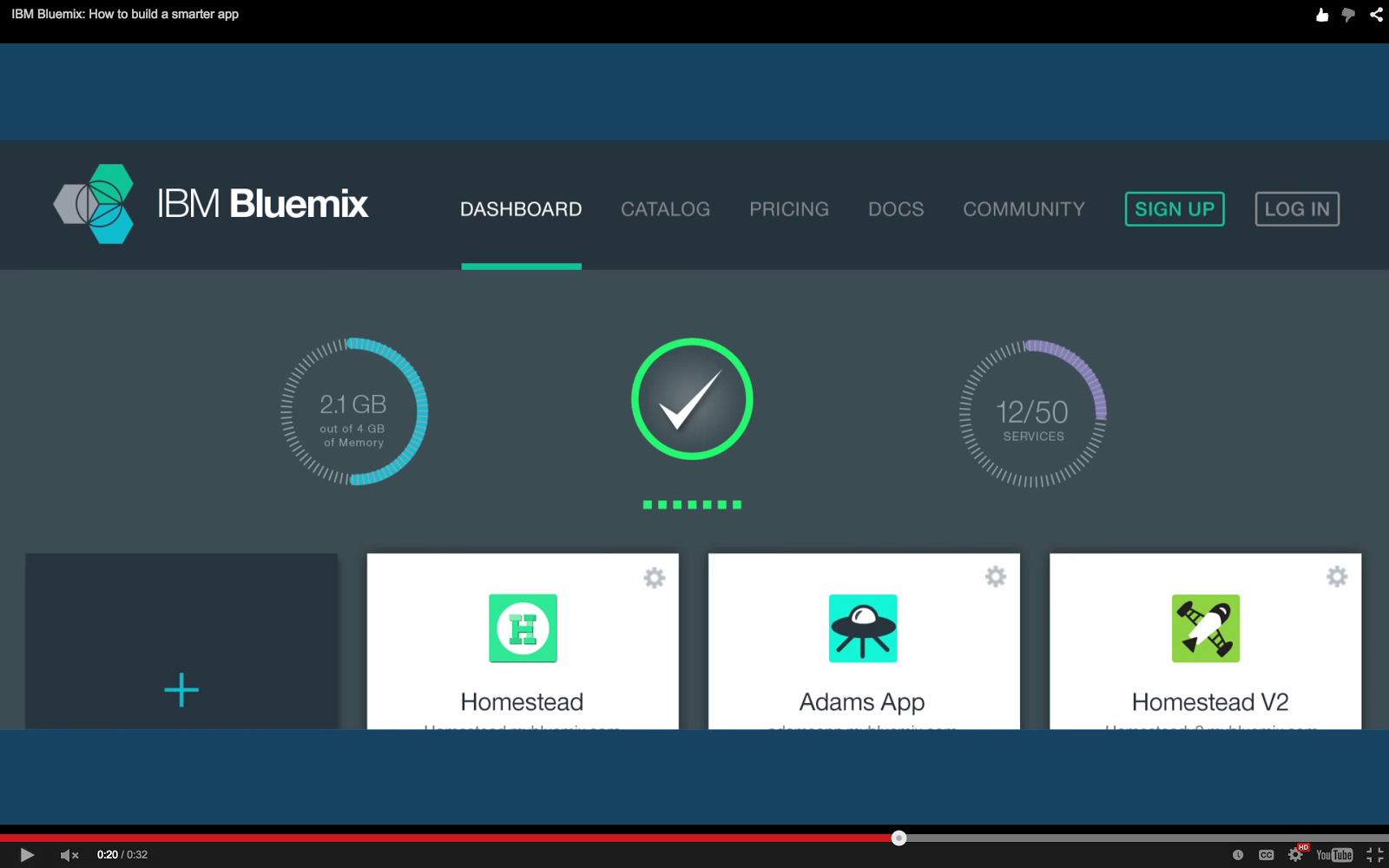 Bluemix YouTube: Bluemix UI Dashboard