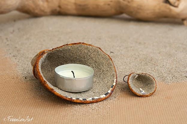 Portacandele in corda, sabbia, gommalacca e frammenti di conchiglie