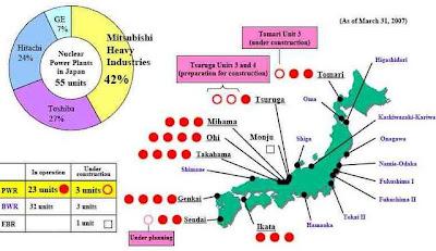 Ubicación de reactores nucleares en Japón