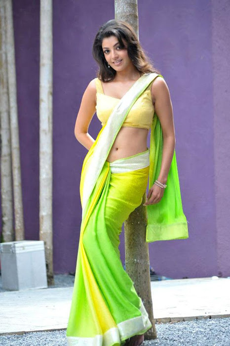 kajal agarwal test saree in business man cute stills