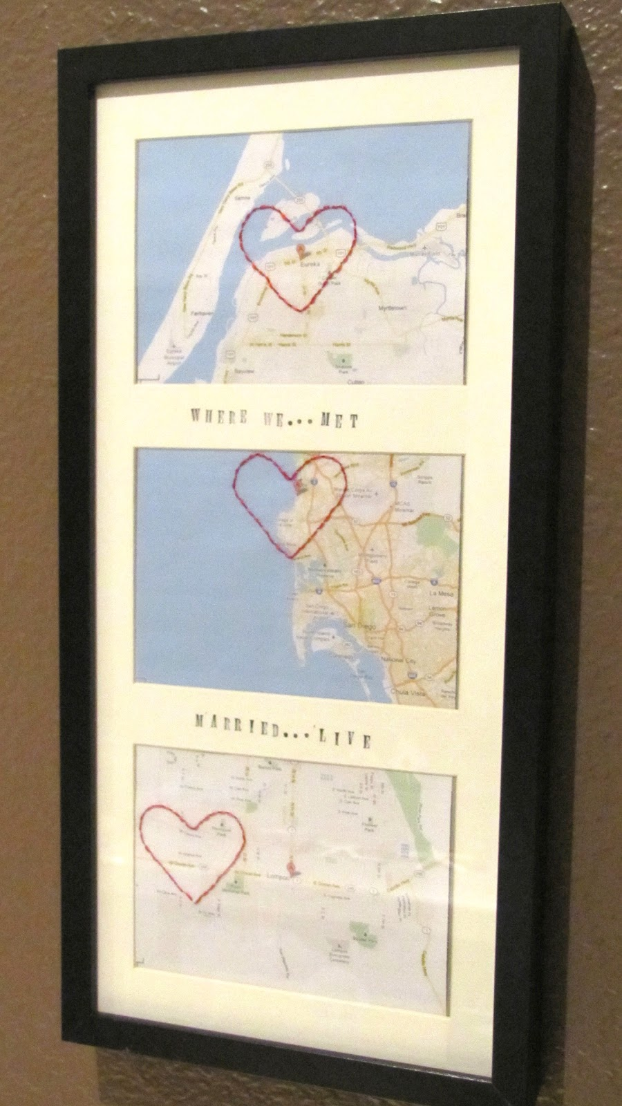 adventures in diy love heart map frame