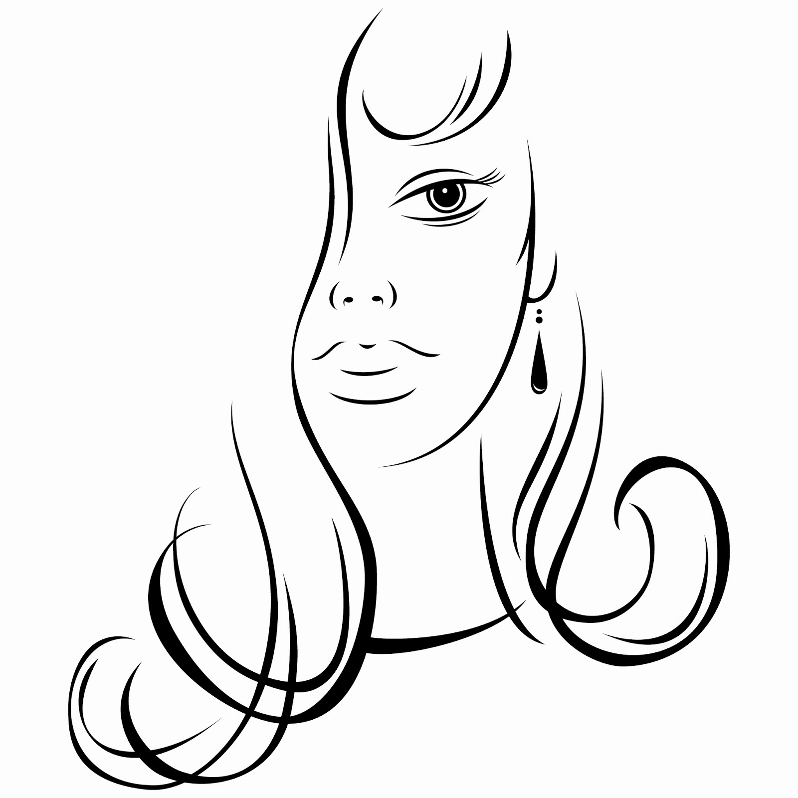 Download FREE EPS Design Graphic Art Vector Illustration: Ink sketch of young woman beautiful face on white background. Vector illustration clip-art design element save in 8 eps