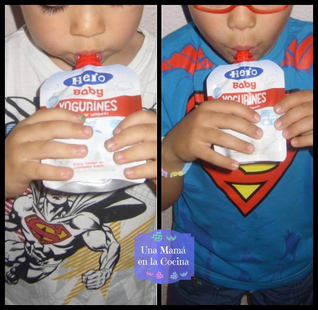 Probando yogurines de hero baby