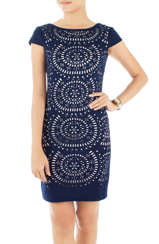 Exquisite Laser Cut Pencil Dress – Midnight Blue