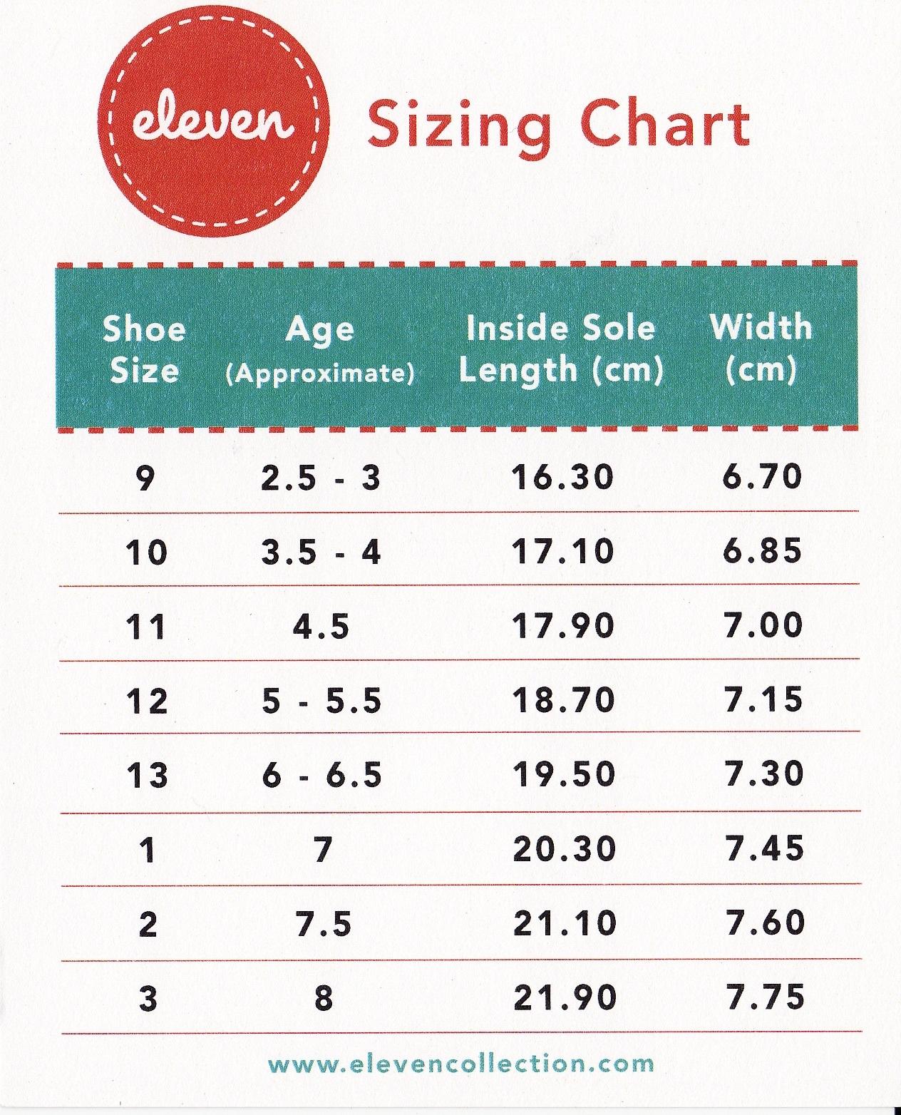 Normal Shoe Size Measureents