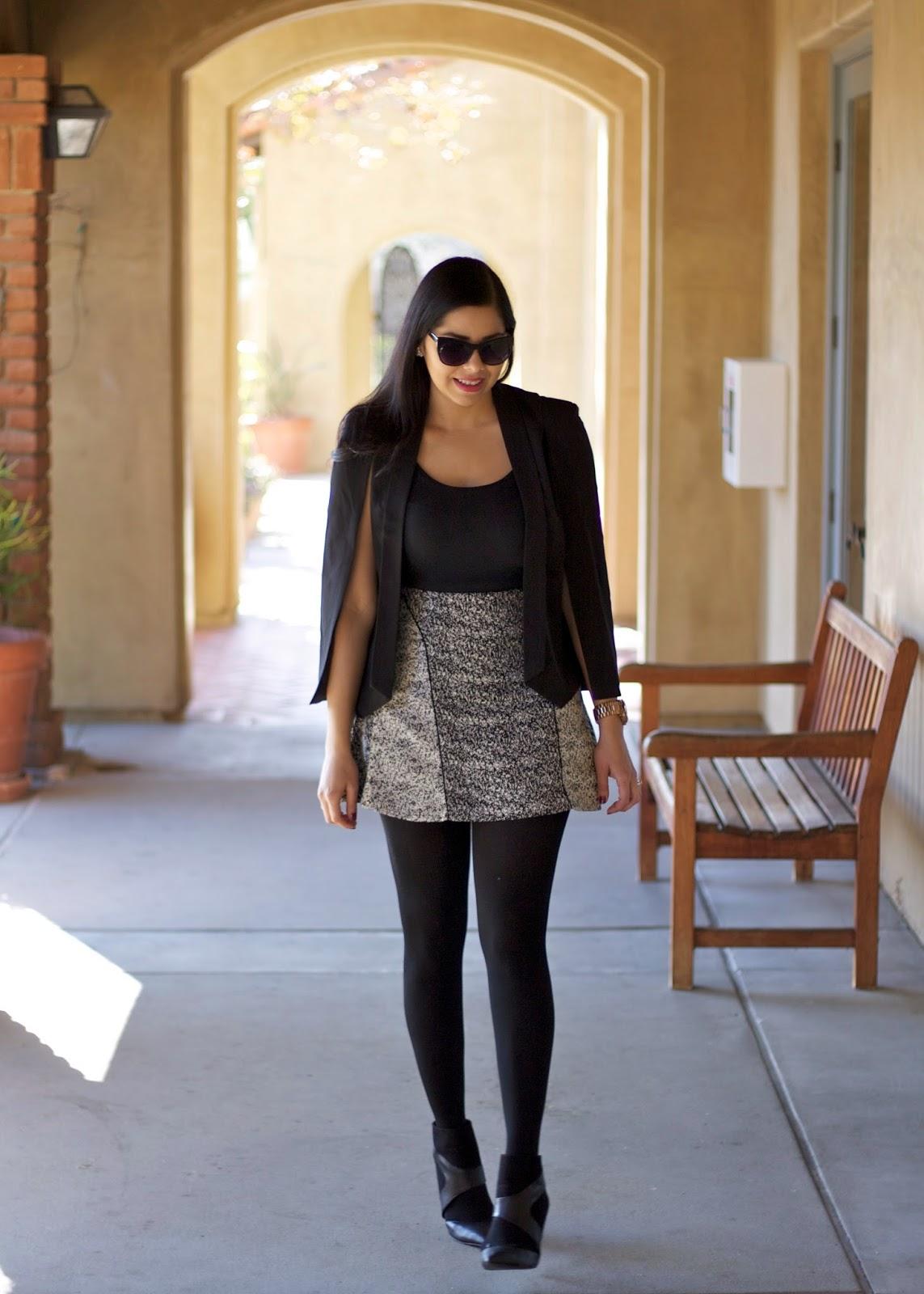 HM outfit, H&M skirt, Zara cutout booties, Sheinside blazer, Forever21 cateye sunglasses