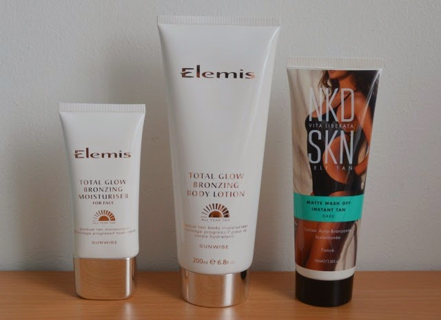 Elemis total glow bronzing moisturiser for face, Elemis total glow bronzing body lotion, Vita Liberate nkd skn matte wash off instant tan