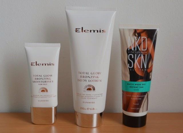 Elemis total glow bronzing moisturiser for face, Elemis total glow bronzing body lotion, Vita Liberate nkd skn matte wash off instant tan