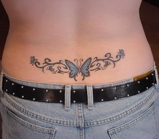 Beautiful Lower Back Butterfly Tattoo for Girls