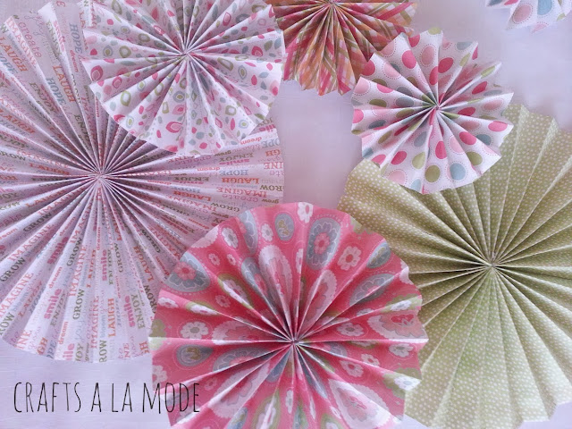 pink and green paper folded circles