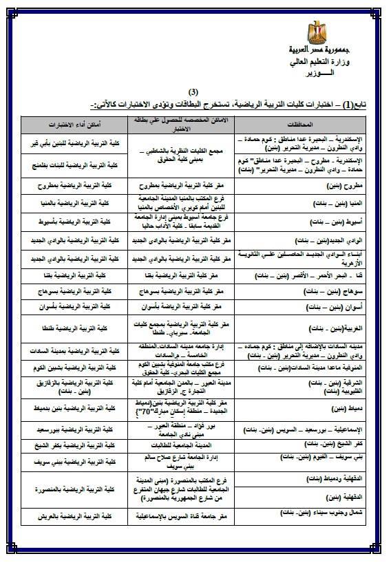 التعليم العالى - تعلن جدول موعد واماكن استخراج بطاقات واختبارات القدرات لجميع الكليات