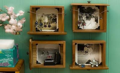 Cajones de muebles viejos reciclados pata hogar como portafotos pared