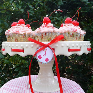 Homemade Cherry Cupcakes on Cake Stand