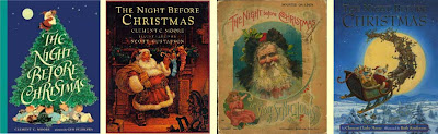 Covers of four different versions of The Night Before Christmas