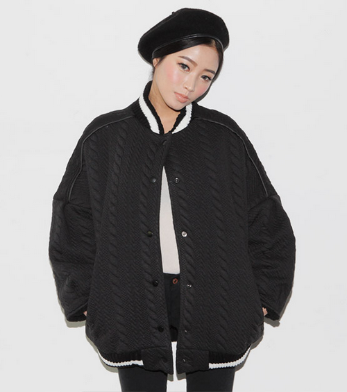 Cable Textured Baseball Jacket