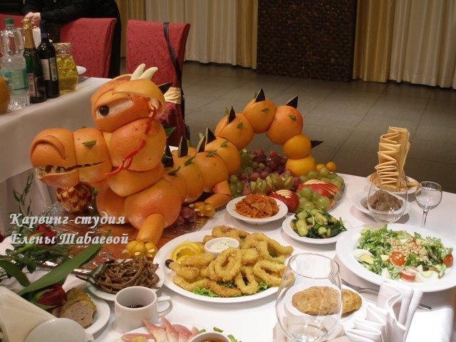 дракон карвинг из фруктов