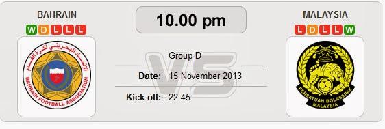 Keputusan Malaysia vs Bahrain 15 November 2013