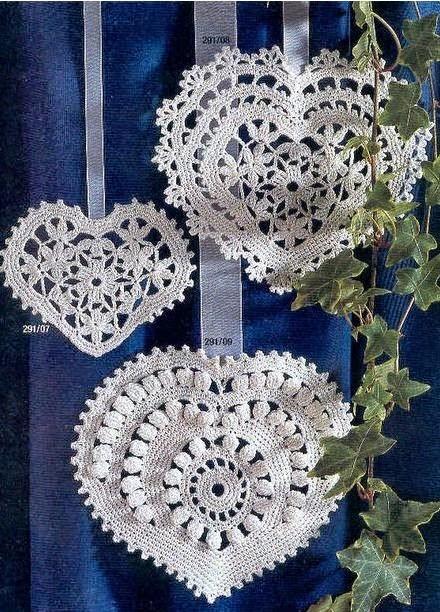 Corazones crochet para decorar