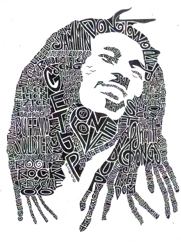 retratos de jimi hendrix y bob marley en letras