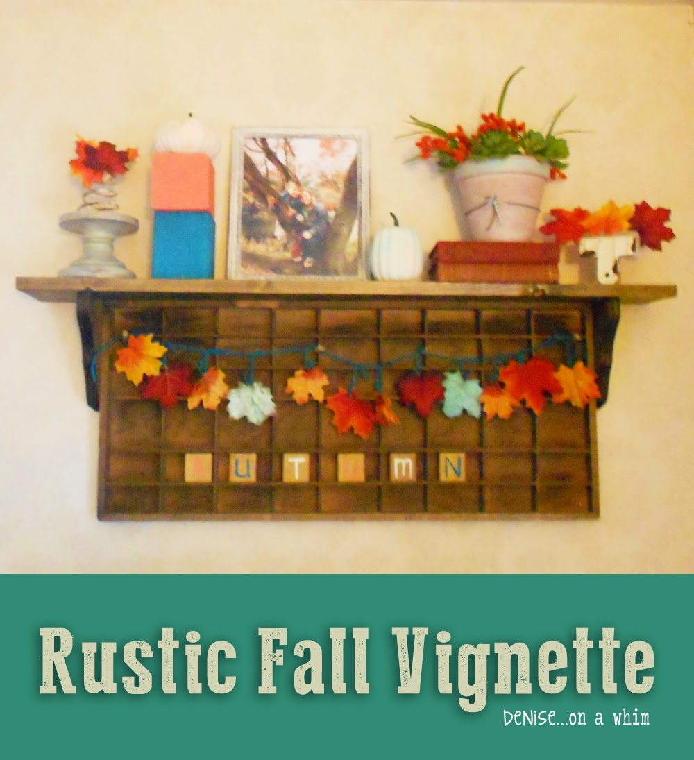 Rustic Fall Vignette on a Printer's Tray Shelf from Denise on a Whim
