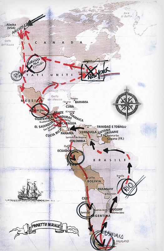 """Itinerario di Ilario Lavarra, con una """"Vespa Sprint Veloce"""", durato un anno e mezzo (2010-'12)."""