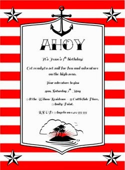 Nautical Sailor Party Invitation - Red