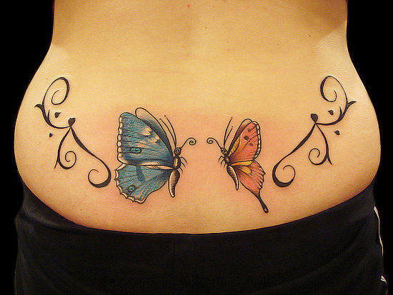 lower back butterfly tattoos designs. Black Bedroom Furniture Sets. Home Design Ideas