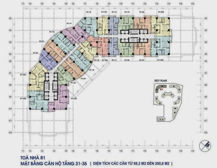 Kiến trúc toà R1 chung cư Royal City - mặt bằng tầng căn hộ điển hình từ tầng 31 đến tầng 35
