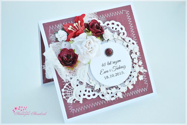 Kartka z okazji 40 rocznicy ślubu. Rubinowe Gody.