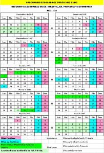 Calendario escolar 2012/2013 Cantabria