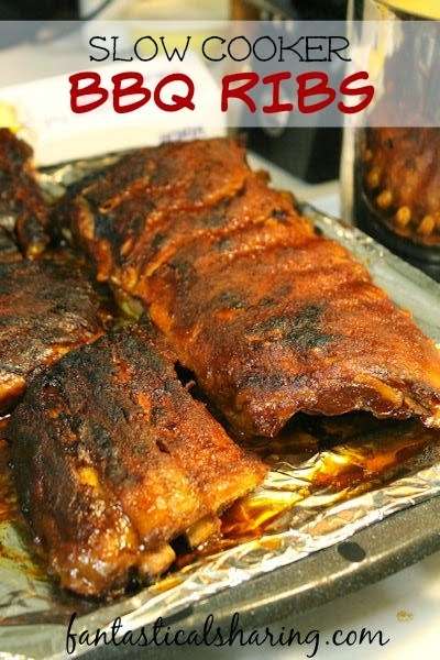 Slow Cooker BBQ Ribs   You can still have your grillout grub even when it's raining and pouring! #crockpot #ribs