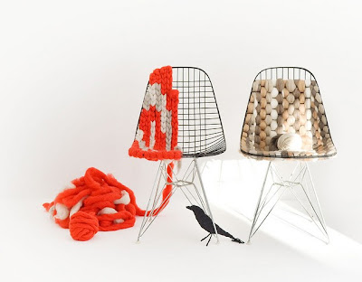 knitted eames wire chairs