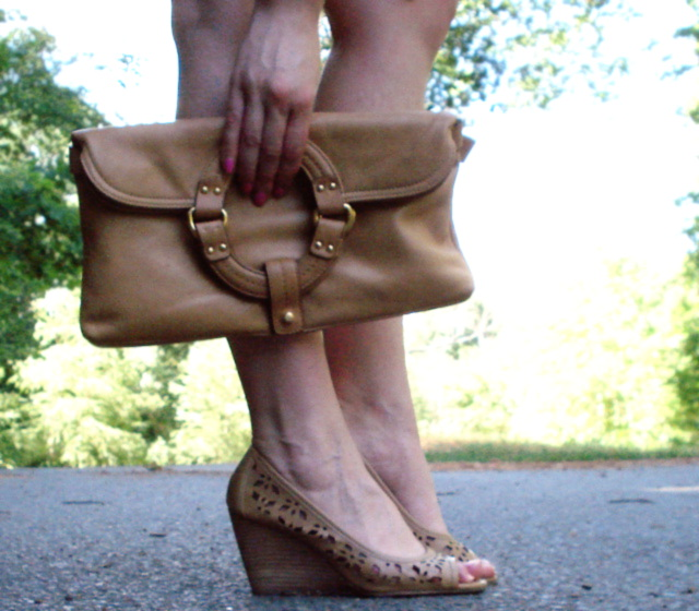 Leather clutch and wedges