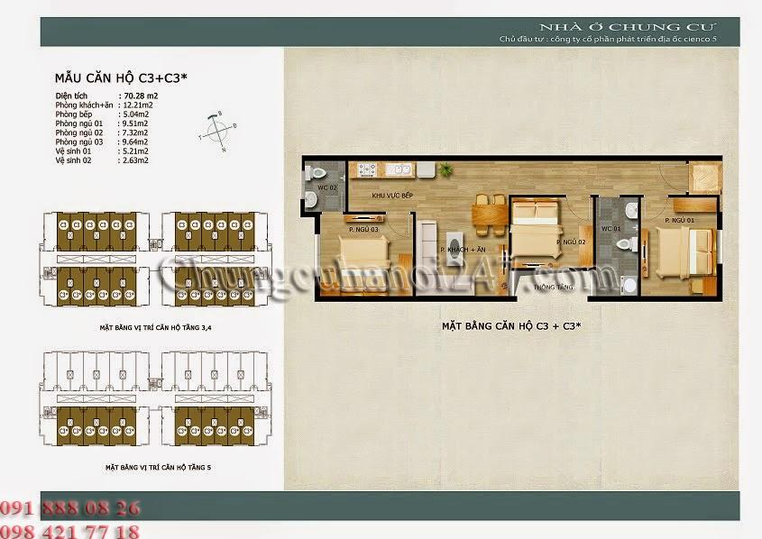mặt bằng thiết kế căn hộ c3+c3* chung cư thanh hà cienco 5 hà đông